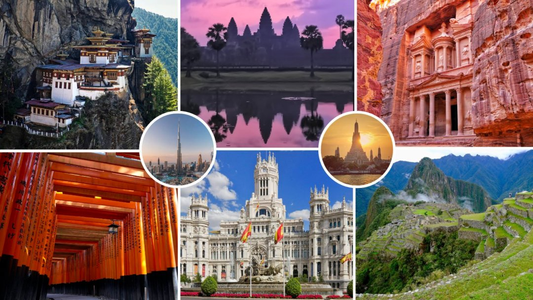 around the world tour in 2023 visits bhutan, cambodia, jordan, japan, spain, and peru