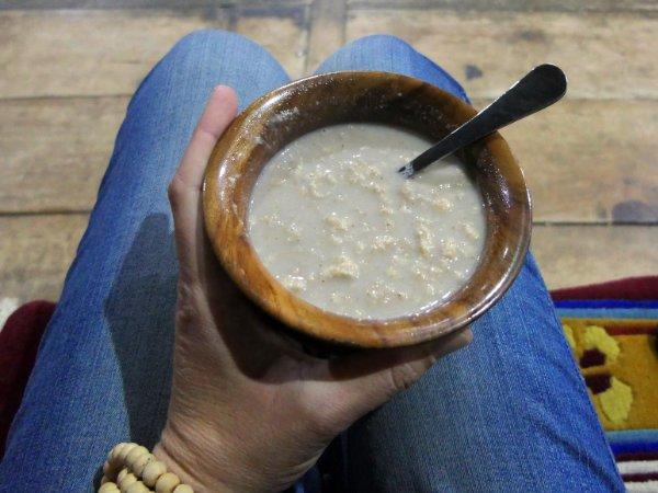 Butter tea mixed with barley flour (tsampa) in Ladakh