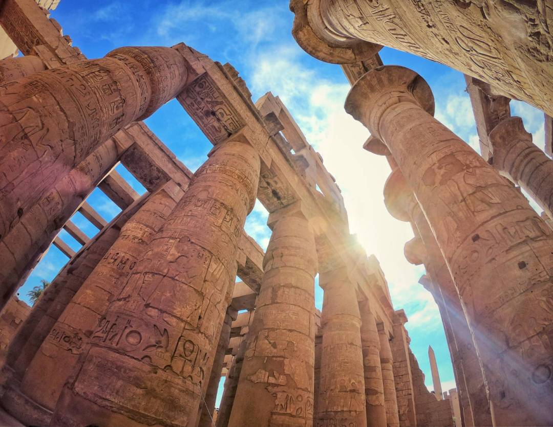 Wide angle photo of Hypostyle hall at Karnak temple in Luxor