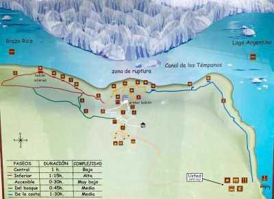 Map of accessible paths at Perito Moreno glacier in Argentina.