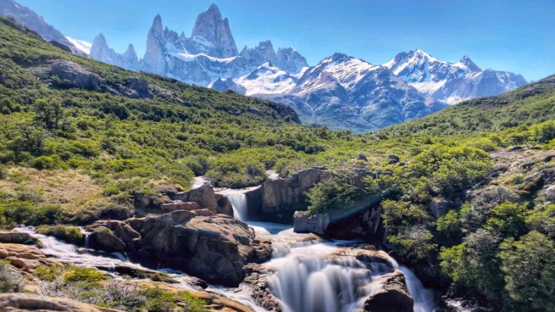 Secret waterfall in El Chalten, Argentina, Patagonia