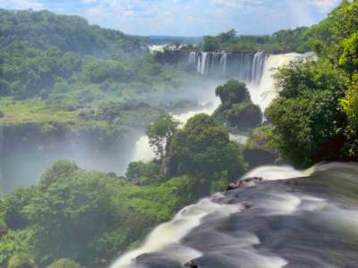 Iguazu Falls as seen from the upper trails on the Argentinian side.