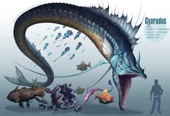 Artwork des Pokémon Leviator et Magicarpe par Arvalis