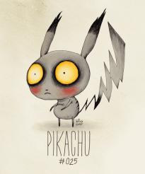Le Pokémon Pikachu en Tim Burton style