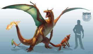 Dessin réaliste des pokemon Salamèche, Reptincel et Dracofeu