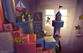 Niveau 2D du château en cubes dans le jeu Castle of Illusion HD sur Xbox 360