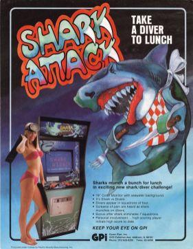 publicité borne arcade Skark attack avec fille en maillot de bain