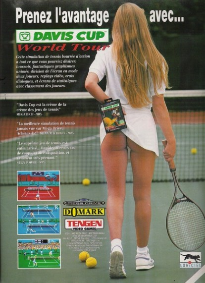 pub avec joueuse tennis fesses nues jeu vidéo tennis davis cup