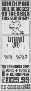 pub noir et blanc pour jeu sonic 2 en angleterre