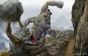 peinture réaliste des pokemon mackogneur et gravalanch par Simon Gangl
