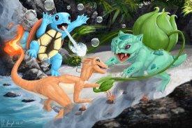 peinture réaliste des pokemon carapuce salamèche et bulbizarre par Simon Gangl