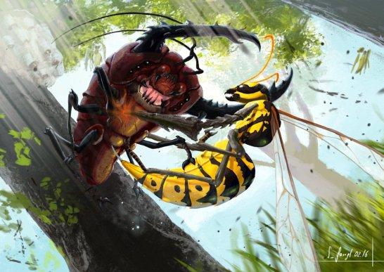 peinture réaliste des pokemon scarabrute et dardargnan par Simon Gangl