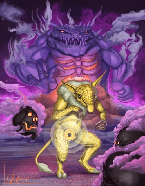 peinture réaliste des pokemon hypnomade fantominus et ectoplasma par Simon Gangl