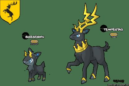 cerf maison baratheon game of thrones en version pokémon