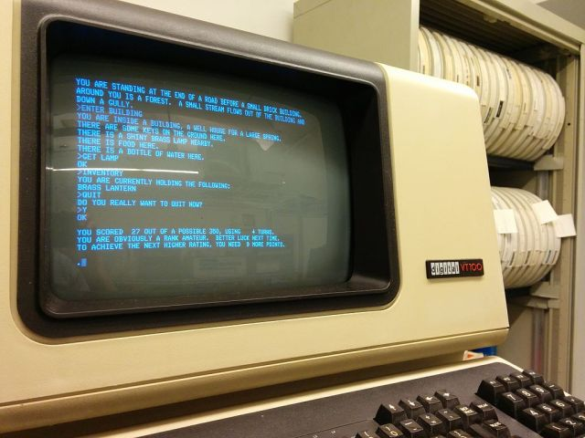 Colossal Cave Adventure running on a PDP-11_34 displayed on the minicomputer's VT100 serial console COURTESY Autopilot, Wikipedia