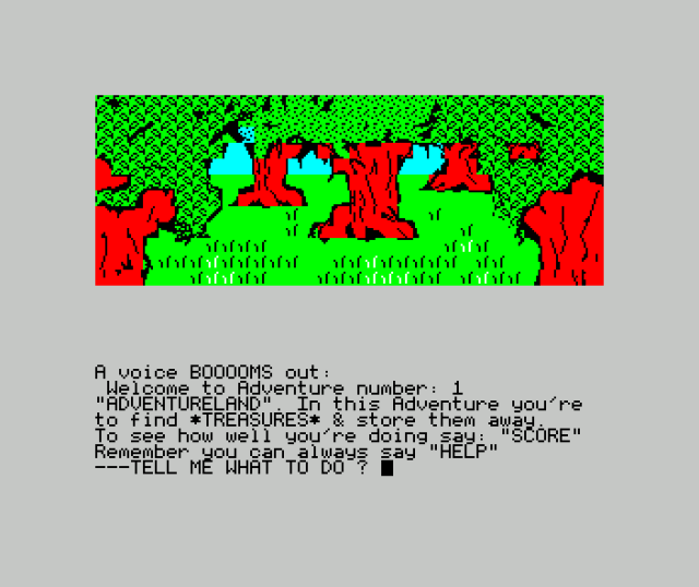 Screenshot of the graphical version of 'Adventureland' for the Sinclair ZX Spectrum