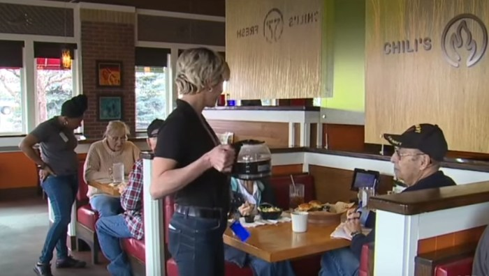 elderly couple eats at chilis every day