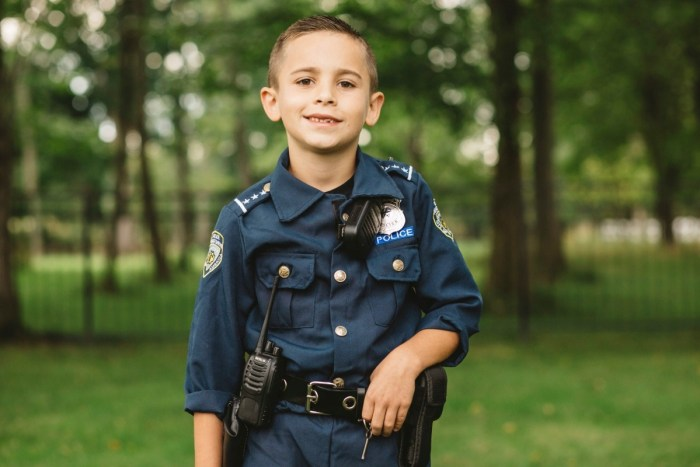 9-year-old Brady dressed as a cop