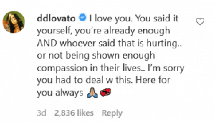 Demi Lovato offered solidarity in response to the emotional video