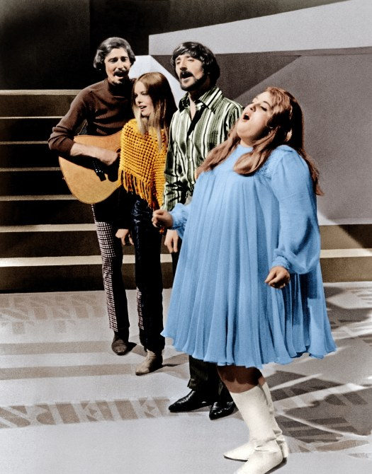 The Mamas and The Papas (from left: John Phillips, Michelle Phillips, Denny Doherty, Cass Elliot aka Mama Cass), performing on an unknown television show, ca. 1966