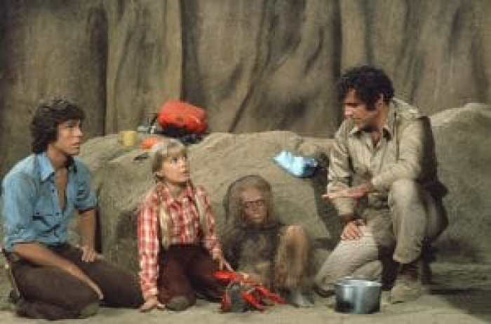LAND OF THE LOST, (from left): Wesley Eure, Kathy Coleman, Philip Paley (as Cha-Ka),