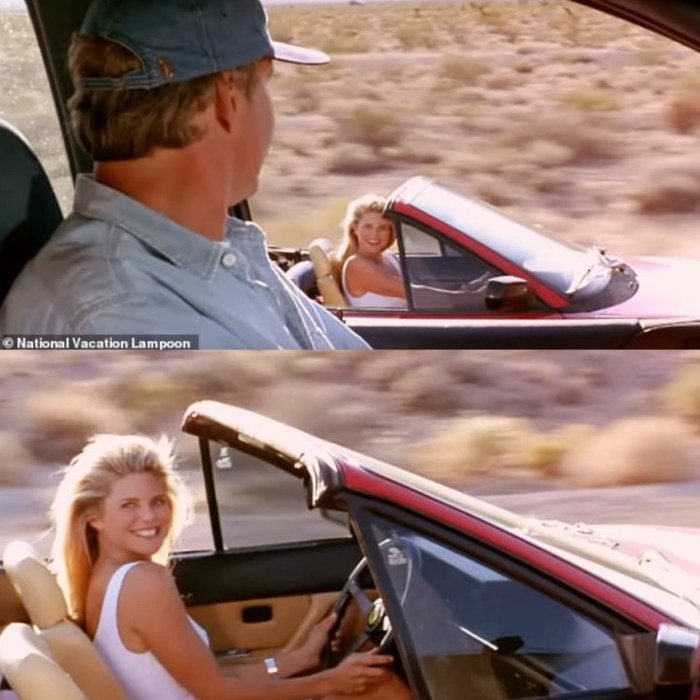 Two screenshots from the film, 'National Lampoon's Vacation'.