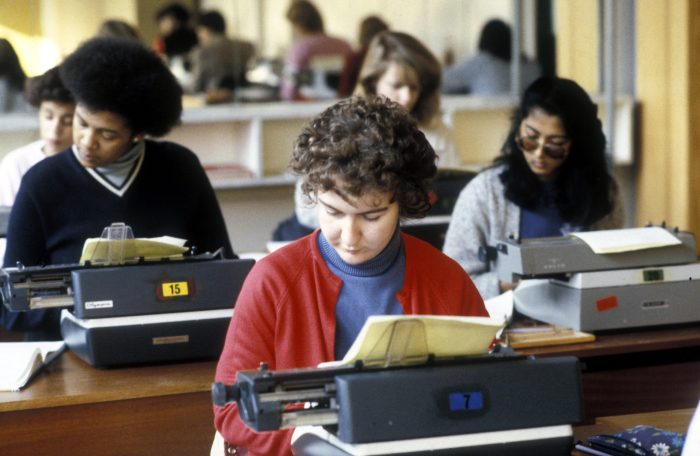 typing class with typewriters