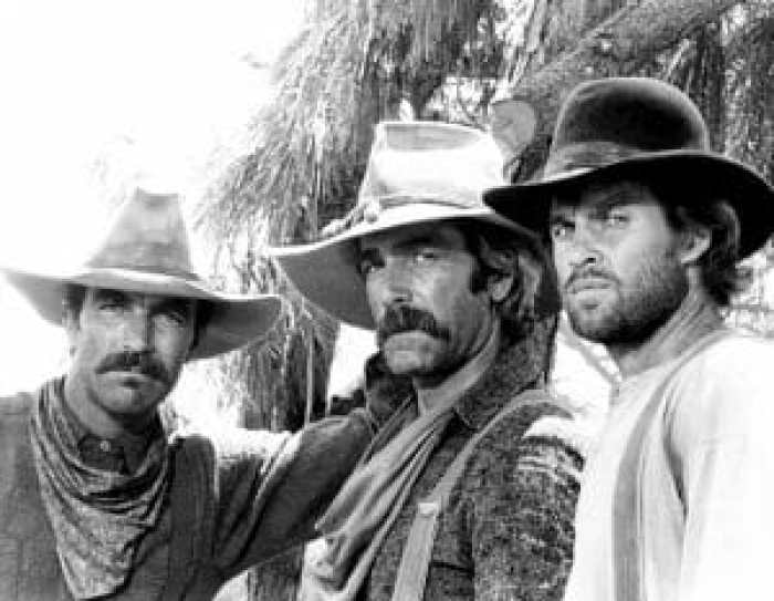 Tom Selleck, Sam Elliott, and Jeff Osterhage together in The Shadow Riders