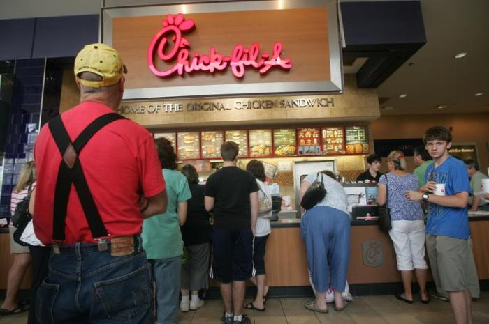 People waiting in line for Chick-fil-A