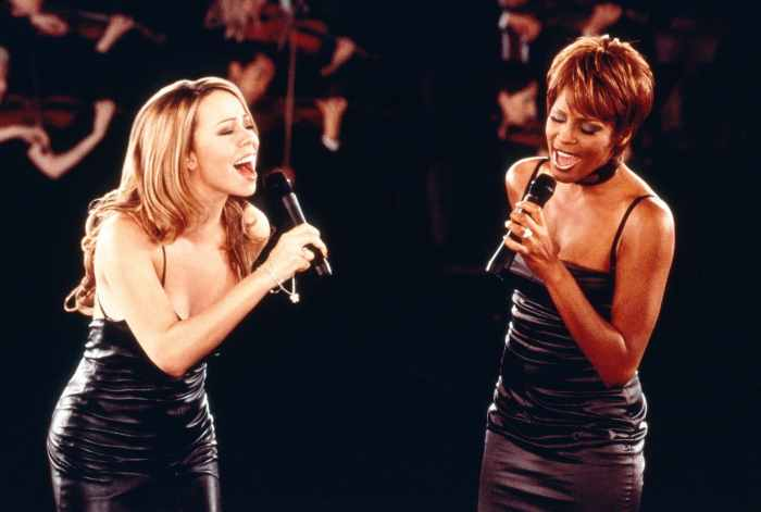 THE PRINCE OF EGYPT, Mariah Carey, Whitney Houston recording 'When You Believe' for the soundtrack, 1998