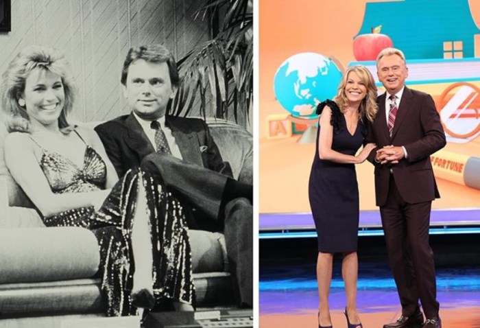 vanna white pat sajak then and now wheel of fortune