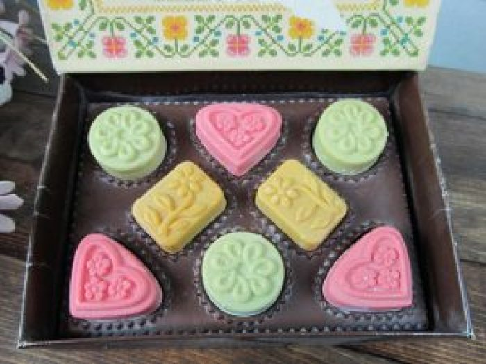 These vintage soaps added color and beauty to any shower or tub setting