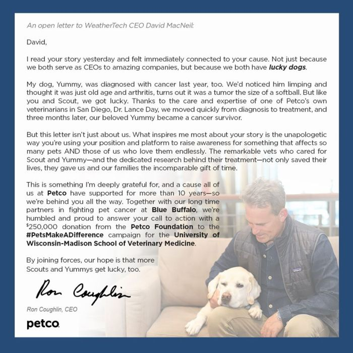 petco foundation letter to weathertech donation