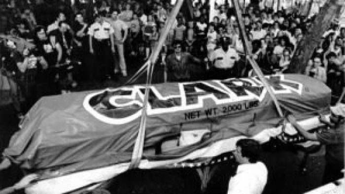 Pittsburgh quickly took immense pride in housing the birth of the D.L. Clark company and gave out chunks of this giant Clark Bar to Kennywood Park visitors