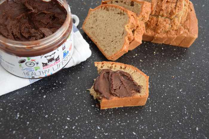 peanut butter bread with a chocolate spread