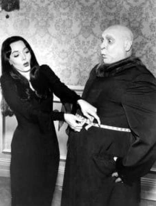 Carolyn Jones and Jackie Coogan in the Addams Family