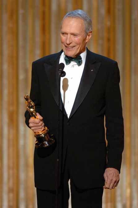 Clint Eastwood on stage at the 77th Annual Academy Awards, Los Angeles, CA, February 27, 2005