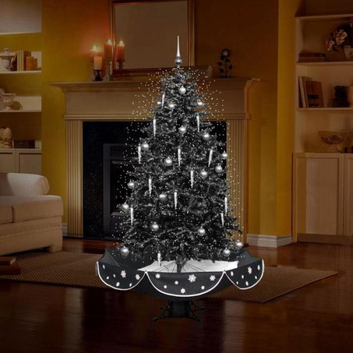 black and silver snowing christmas tree