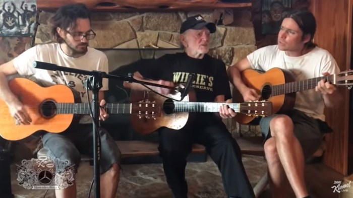 willie nelson and his sons micah and lukas performing
