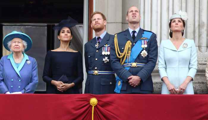 Queen Elizabeth II, Prince Harry and Meghan Markle (The Duke and Duchess of Sussex) with Prince William and Kate Middleton