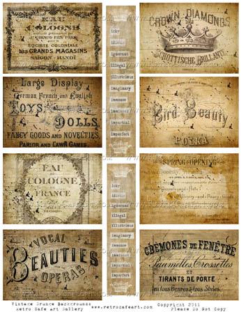 Vintage Grunge ATC Backgrounds And Words Digital Collage Sheet