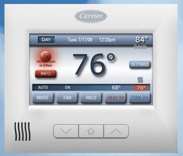 Carrier ComfortChoice Touch thermostat with ThinkEco's modlet cloud platform