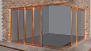 Kolbe TerraSpan 90-degree corner door with lift and slide capabilities