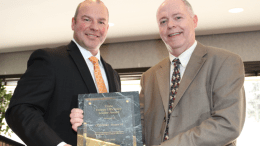 "In recognition of COUNTRY Financial's commitment to energy and operational efficiency, Mitchell J. Farrell (left), district general manager for Trane, presented Trane's ""Energy Efficiency Leader Award"" to Randy Hagerty, manager of property and facilities for COUNTRY Financial. PHOTO: Trane"
