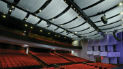 Ann Whitney Olin Theatre featuring Armstrong's Serpentina Waves acoustical ceiling clouds. Photo: Armstrong World Industries
