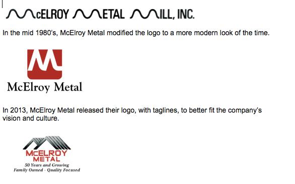 McElroy Metal's logo evolution