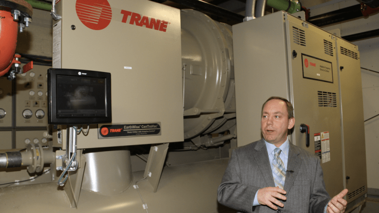 Charlie Holt, account manager for Trane Great Northern Plains, describes a new Trane Centrifugal chiller at McGladrey Plaza which includes a 10-year service agreement to avoid unforeseen repairs and help with maintenance budgeting.