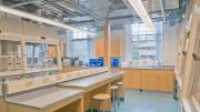 Using the building perimeter for labs and the interior for support spaces is often the best strategy if the retrofit plan allows. This will maximize daylight in the most frequently occupied spaces as shown in Pearson Michael Chemistry Laboratory.