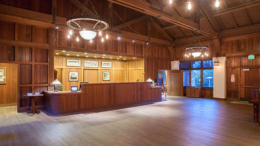 Built in 1913, Phoebe Apperson Hearst Social Hall was the first public building constructed at the conference grounds. It served as a gathering space and directed visitors to their lodgings once they registered in the reception area.