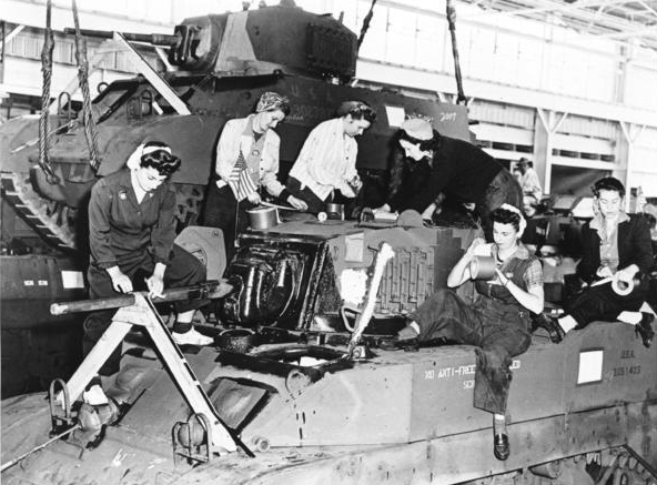 """During World War II, the Ford Assembly Plant and its outbuildings in Richmond, Calif., mobilized to build tanks, jeeps and armored vehicles destined for the Pacific theater. These vehicles were often built by women, famously earning them the nickname """"Rosie the Riveter""""."""